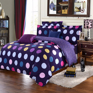 3 Or 4pcs Polyester Fiber Dot Paint Printing Bedding Sets Pillowcase Quilt Duvet Cover