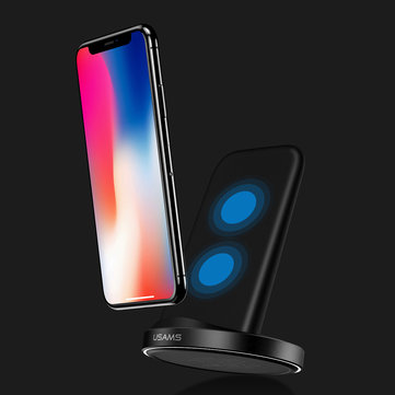 USAMS 10W Qi Standard Wireless Fast Charger Stand Dock for Samsung Galaxy...