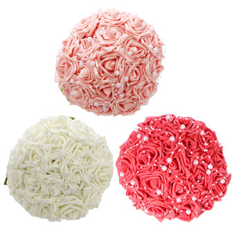 15PCS Faux Pearl Crystal Pins Wedding Bride Bridesmaid Flower Girls Foam Roses Bouquet