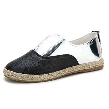 New Women Flats Shoes Comfortable Fashion Knitting Straw Slip-On Flat Loafers Shoes