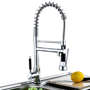 Kitchen Sink Mixer Faucet Pull Out Sparyer Tap Single Handle Chrome Brass Brushed Tap