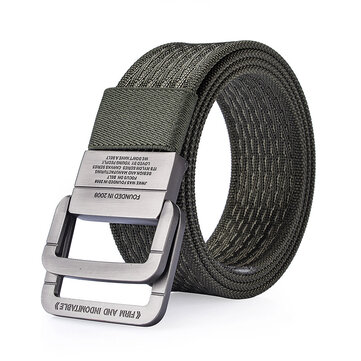 120CM Men Nylon Double Ring Alloy Buckle Belt