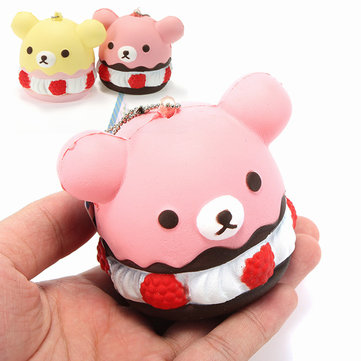 Squishy Bear Bear Ice Cream Cup Cake Soft Slow Rising With Ball Chain Tag Collection Gift Decor Toy
