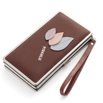 Baellerry Women Leaf Clutches Bags Zipper Long Wallets Card Holder Coin Bags 5.5'' Phone Purse