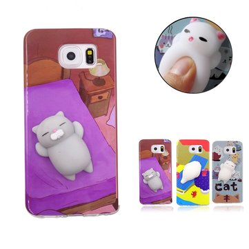 Bakeey ™ Cartoon 3D Squishy Squeeze Slow Rising Soft Lazy Кот ТПУ Чехол для Samsung Galaxy S7 Edge