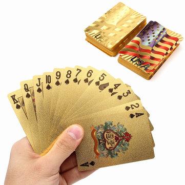 Oro recubierto de plástico juego de cartas juego de póquer EE.UU. estilo de bandera nacional