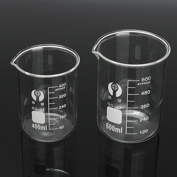 2Pcs Borosilicate Glass Beaker Volumetric 400ml & 600ml For Laboratory