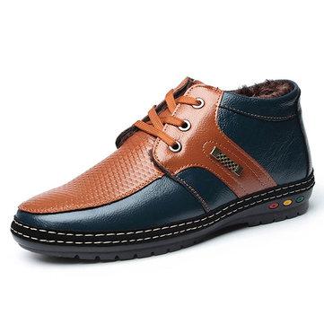 Homens Inverno Cotton Plush Casual Moda confortável Manter Warm Handicraft Lace-Up Shoes de couro