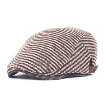 Unisex Katoen Polyester Stripe Beret Hoed Leren Riem Buck Adjustable Paper Jongen Cabbie Visor Cap