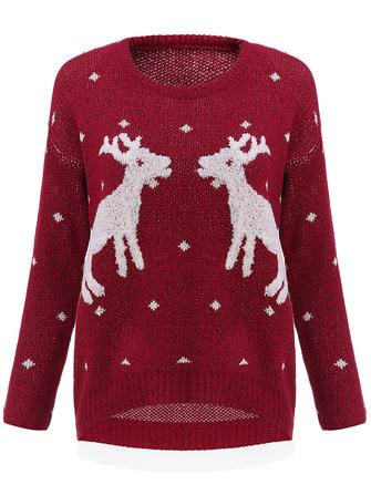 Casual Loose Animal Elk Printed Long Sleeve Kint Pullover Women Sweater
