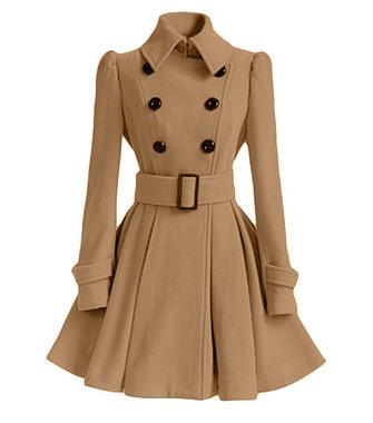Belt Ruffles Slim Double Breasted Long Sleeve Lapel Women Woolen Coat