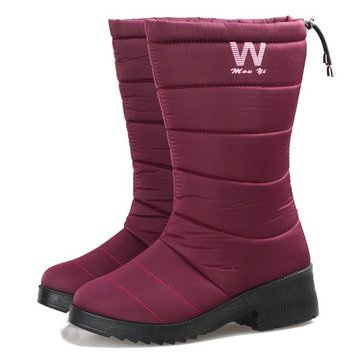 Women Winter Keep Warm Snow Waterproof Snow Boots Soft Sole Round ...
