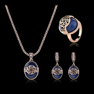 Turkey Series Necklace Blue Turquoise Ring Retro Earrings Gift Jewelry Set