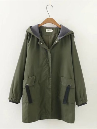 Plus Size Casual Women Pockets Hooded Trench Coats