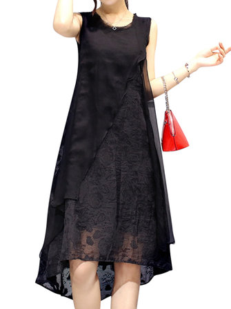 Women Sexy Sleeveless O-Neck Dresses Irregular A-Line Dress