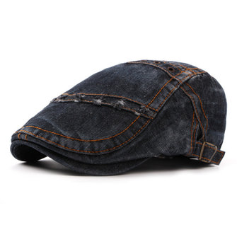 Mens Denim Beret Caps Fashion Adjustable Visor Cowboy Hats Forward Hat