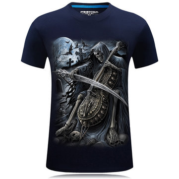 Plus Size S-4XL Casual 3D Print T-shirt Summer Men's Round Neck Short Sleeve Tops Tees 1148632