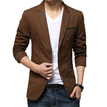 Mens Gentlemen Business Casual Fashion Slim Fit Pure Color Small Suit Coat Blazers