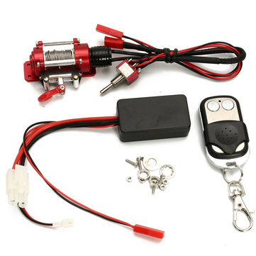 Steel Wired Crawler Winch Control System+Wireless Remote Receiver RC Car Parts SCX10 D90