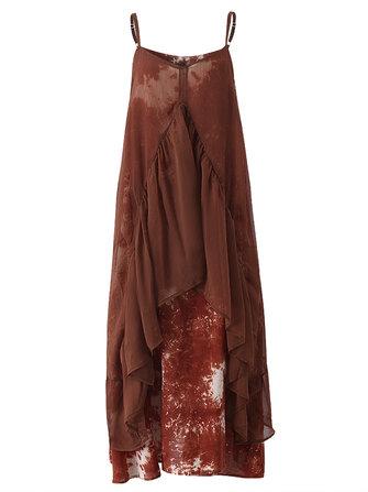 Women Vintage Tie-dye Printing Strap Sleeveless Irregular Loose Dress
