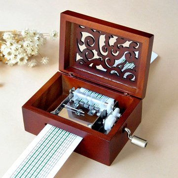 DIY Tune Mechanica Hand Crank Wood Music Box with Hole Puncher Tape Strips