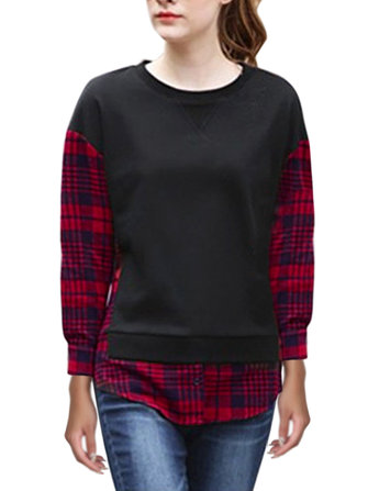 Casual Loose Plaid Patchwork Long Sleeve Round Neck Women Blouse