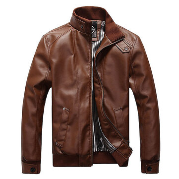 Plus Size Mens Fashion Black Faux Leather Jacket Stand Collar Motorcycle Slim Fit Coat
