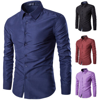 Mens Fashion Cotton Solid Color Turn-down Collar Casual Long Sleeve Dress Shirt