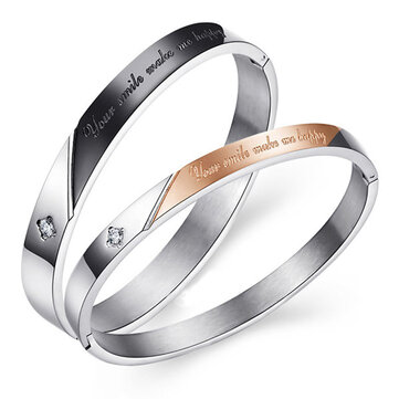 Sweet Titanium Steel Couple Bracelets Bangle Relationship