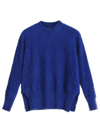 Mais o tamanho a pelúcia de mulheres tricotou o suéter de pulôver de divisão simétrico