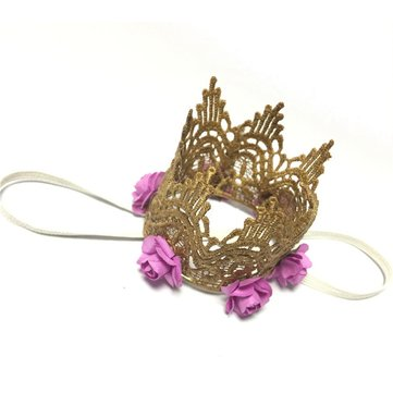 Lace Princess Crown Rose Flowers Children Party Hat