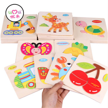 [Umu]Wooden 3D Puzzle Jigsaw Wooden Toys For Children Cartoon Animal Puzzle Intelligence Kids Wooden