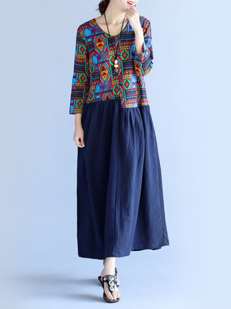 Buy Folk Style Women O-Neck Printed Patchwork Maxi Dress for $45.69 in Banggood store