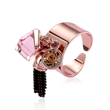 Trendy Rose Gold Plated Crystal Tassels Women Finger Rings