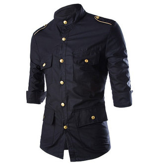 Military Uniform Officer Style Fashion Slim Three Quarter Sleeve Golden Epaulet Button Men Shirts