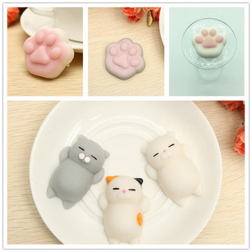 6PCS Cat Paw Claw Squishy Squeeze Leuk Healing Speelgoed Kawaii Collection Stress Reliever Cadeau Decor