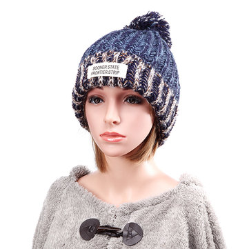 Vrouwen pluchevoering wol bal Knitting Mix-color Hat Winter Warm Ski Gevlochten Haak Beanie Cap