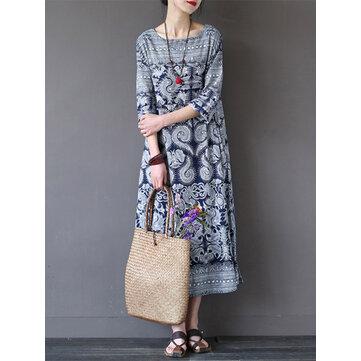 Women Loose Retro Printed 3/4 Sleeve Maxi Dresses