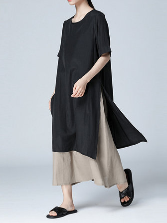 Women Casual Loose Fake Two Pieces Dress
