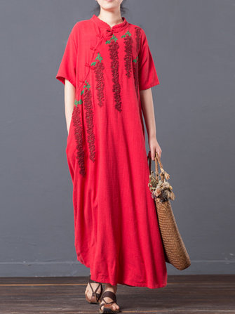 Embroidery Loose Women Plate Buckle Short Sleeve Vintage Maxi Dresses