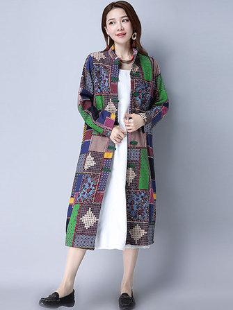 봄 가을 여성 클래식 트렌치 코트 민족 격자 무늬 빈티지 윈드 브로커