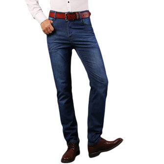 Mens Business Jeans Casual Mid Waist Elastic Slim Fit Straight Legs Denim Pants