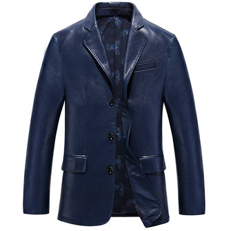 Faux Leather Single Breasted Fashion Casual Business Blazers Jackets for Men
