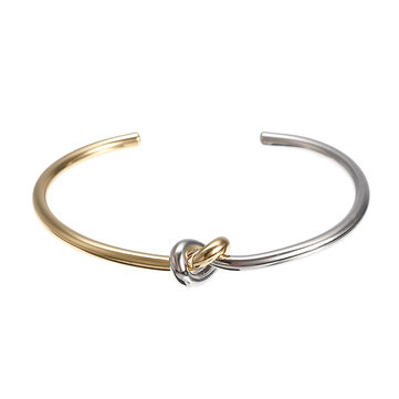 JASSY® Simple Infinity Knot Bangle Platinum and Gold Plated Stretch Bracelet Fine Jewelry for Women