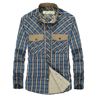 Mens Plaid Down-Down Collar Katoen Casual Long Sleeve Shirt