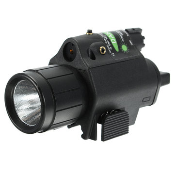 Green Laser Sight Dot Scope 300 Lumen LED Flashlight Combo Tactical Picatinny 20mm Rail Mount