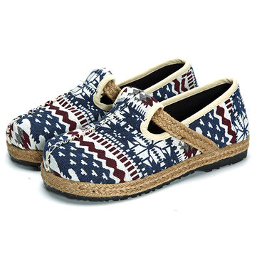 Women Flat Flax Shoes Casual Outdoor Slip On Loafers