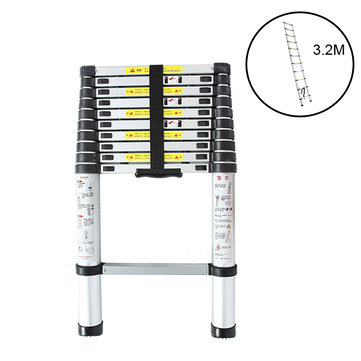 3.2M 11 Steps Aluminum Alloy Portable Extension Telescopic Ladder Single Straight Ladder