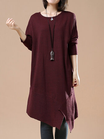 Buy O-NEWE L-5XL Vintage Women Irregular Hem Dress for $25.99 in Banggood store