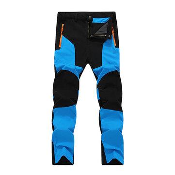 Mens Outdoor Stitching Calças de secagem rápida impermeável Windproof Sport Calças